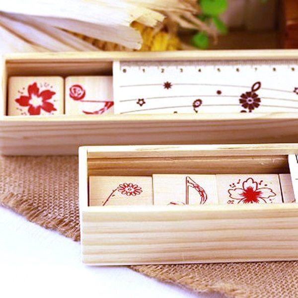 Mycolor:●MYCOLOR●木質印章鉛筆盒卡片相冊木盒獎品字母銅扣手工DIY文具學生音符【K118】