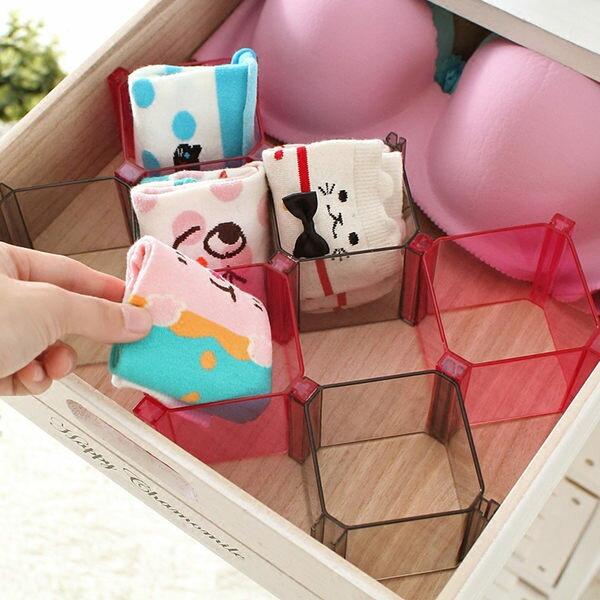 ●MY COLOR●方形蜂巢收納格 抽屜 公仔 自由 組合 一套六個 收納盒 襪子 領帶 內褲 (同色)【R37】