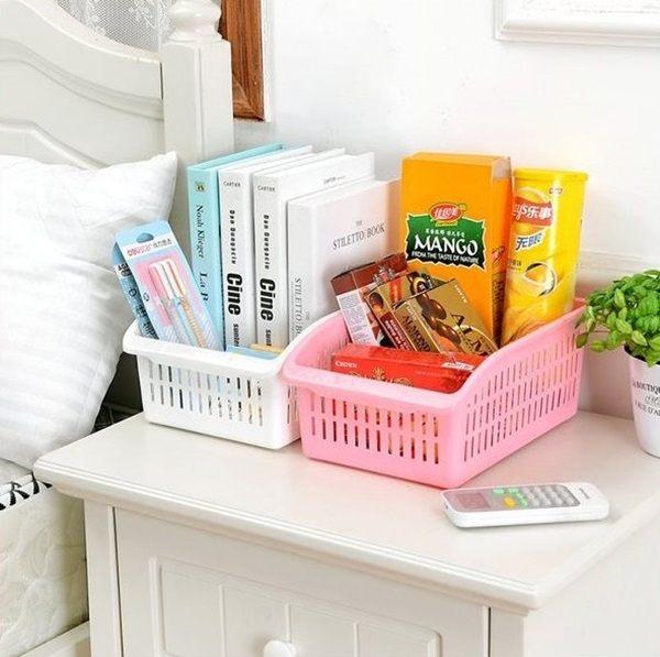 ●MY COLOR●簍空把手收納籃 廚房 衛浴 蔬菜 水果 收納盒 桌面 收納 整理 分類 糖果色【R39】