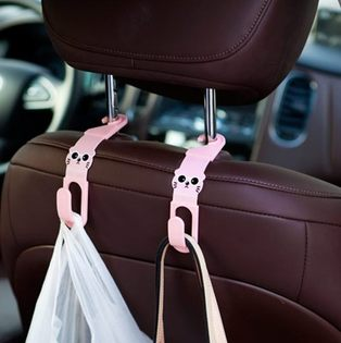 Mycolor:●MYCOLOR●車用座椅卡通造型掛勾多用途車載雙掛鉤椅背創意置物收納(兩入裝)【K45】