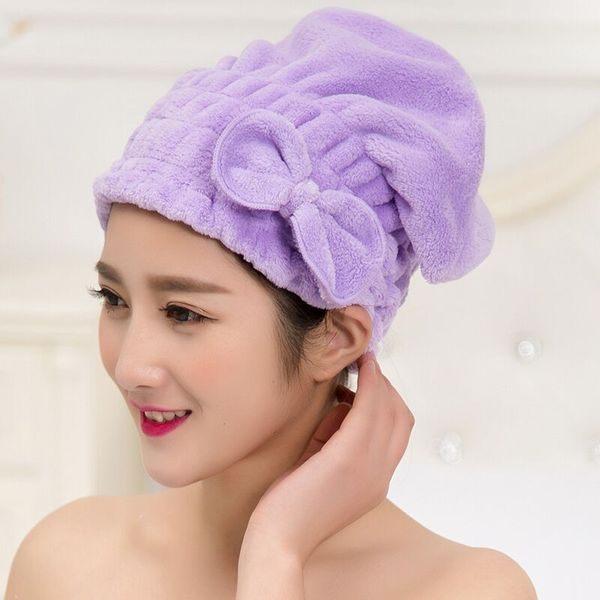 ●MYCOLOR●珊瑚絨吸水乾髮帽加大加厚浴帽蝴蝶結毛巾包頭包巾洗頭吸乾柔軟【Q179】