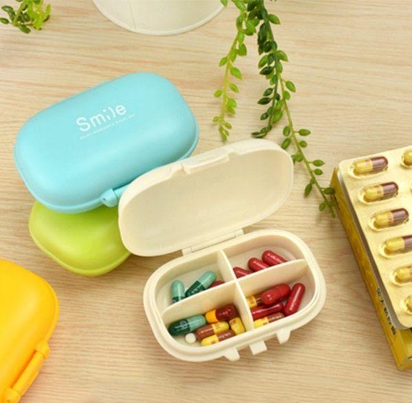 ●MY COLOR●smile分格便攜收納盒 藥盒 四格 藥片 置物 旅行 隨身 飾品 耳環 項鍊 多功能【Q186】