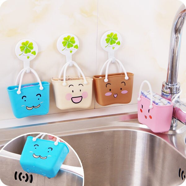 ●MY COLOR●卡通笑臉收納掛袋 趣味 水槽 廚房 小物 瀝水 水龍頭 手提 收納小物 【Q182】
