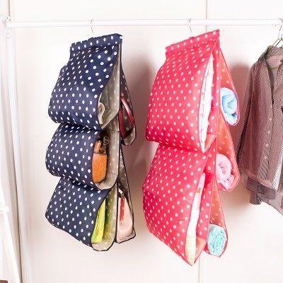 ●MY COLOR●牛津布藝五格掛袋 櫥櫃 收納 懸掛 衣櫃 儲物 包包 圓點 可水洗 多層 整理 【N42】
