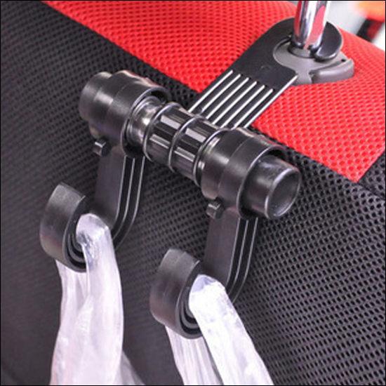 ●MYCOLOR●車用椅背雙掛鉤座椅車內多用途不鏽鋼置物車用掛勾靠背超市購物【Q207】
