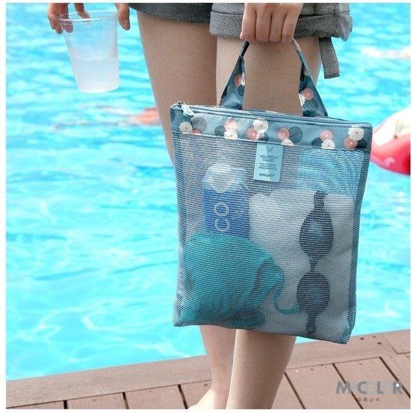●MY COLOR●圖案加邊網格包 沙灘 旅行 游泳 健身 瑜珈 透明 洗漱 運動 購物 網眼 手提袋 (小)【J16】