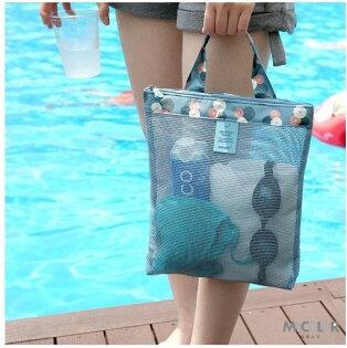 ●MYCOLOR●圖案加邊網格包沙灘旅行游泳健身瑜珈透明洗漱運動購物網眼手提袋(小)【J16】
