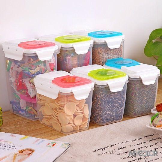 ●MY COLOR●孔蓋式密封罐 食品 零食 雜糧 廚房 保鮮 收納 儲物 防潮 儲物罐 (小)【J20】
