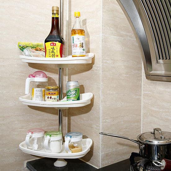 ●MY COLOR●不鏽鋼廚房置物架 頂天立地 免打孔 浴室 轉角 調味 簡易 伸縮 簡易 居家【W23】