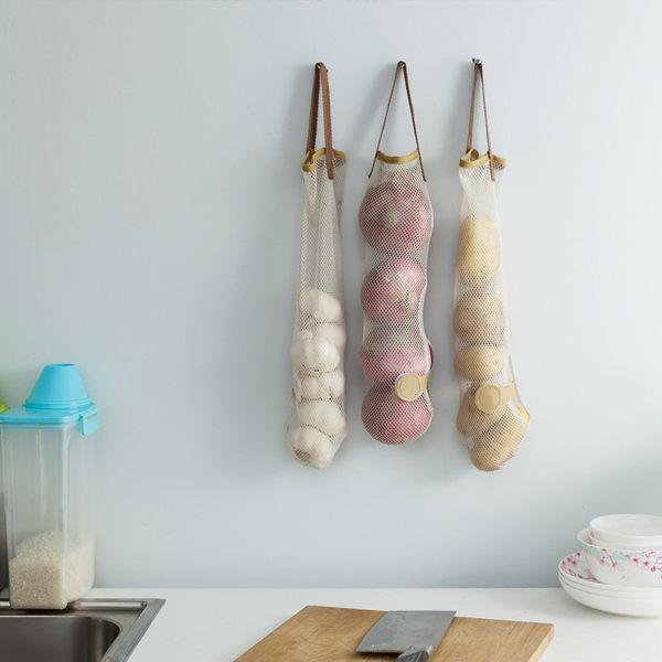 ●MY COLOR●廚房果蔬收納袋 居家 創意 分類 塑膠袋 蒜頭 網袋 簍空 便攜 透氣 瀝水透氣網【K40】