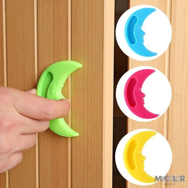 ●MY COLOR●卡通月亮門把拉手 黏貼 輔助 簡易 門窗 櫥櫃 省力 居家 糖果色 免打孔【J105】