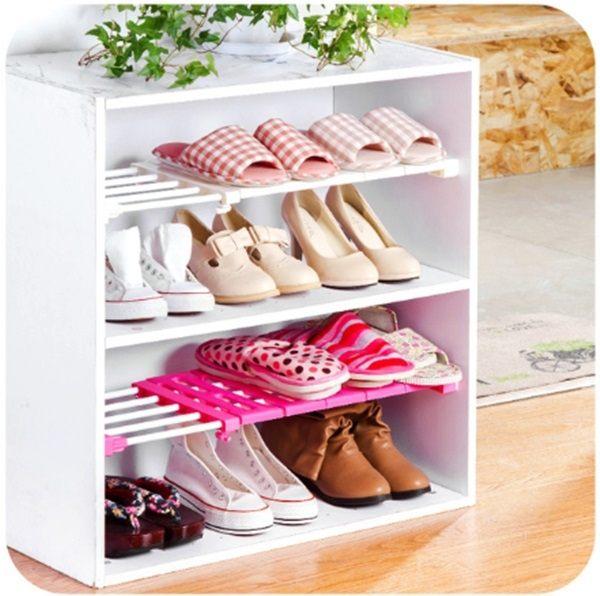 ●MY COLOR●櫥櫃分層可伸縮隔板 支架 浴室 廚房 宿舍 免釘 置物 收納 衣櫃 鞋架 (短款)【W33】