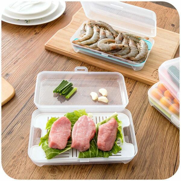 ●MY COLOR●瀝水式海鮮保鮮盒 冷凍 密封 透明 冷藏 魚腥味 去味 冰箱 儲藏 食材 保鮮盒【J126】