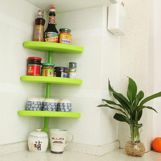 ●MY COLOR●掛式置物架 頂天立地 廚房 調味 罐頭 餐具 伸縮 簡易 收納 易 居家 (三角)【W39】
