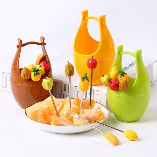 Mycolor:●MYCOLOR●橡木桶造型水果叉環保不鏽鋼食品甜點點心食叉果叉時尚可愛廚房【J170】