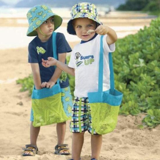 ●MY COLOR●尼龍收納網袋包 海灘 海邊 戲水 玩具 旅行 便攜 戶外 度假 整理 摺疊 (小)【J208】