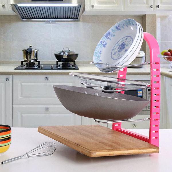 ●MY COLOR●廚房多層置物架 收納 整理 分類 鍋具 碗盤 鍋蓋 瀝水 砧板 清潔 瀝乾 衛生【W40】