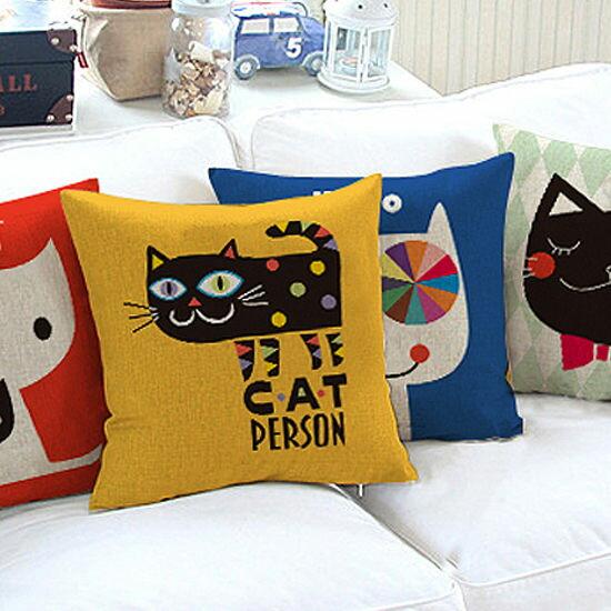 ●MY COLOR●貓咪系列鹿皮絨抱枕 靠枕 枕頭 方枕 靠墊 沙發 枕墊 護腰 枕芯 枕套 可拆洗【V41】