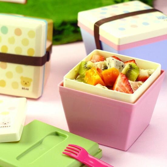 Mycolor:●MYCOLOR●日式糖果色雙層方斗形便當盒飯盒菜盒泡麵學生上班族午餐湯碗餐盒【T09-1】