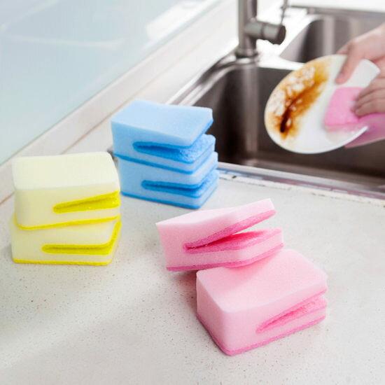 ●MY COLOR●糖果色U型海綿擦 廚房 洗碗 餐具 去汙 百潔 菜瓜布 擦布 泡沫 碗盤 鍋具【Q198】