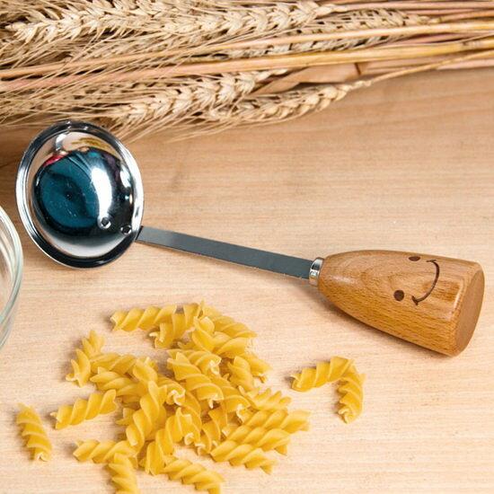 ●MY COLOR●ZAKKA笑臉木柄不鏽鋼湯勺 料理 烘焙 廚房 工具 副食品 濃湯 餐具 擺飾【M100-2】