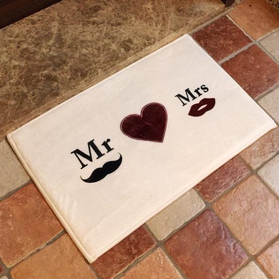 Mycolor:●MYCOLOR●Mr&Mrs愛心圖案地墊(短)門墊腳墊地毯玄關浴室廚房臥室客廳防滑時尚【V03】