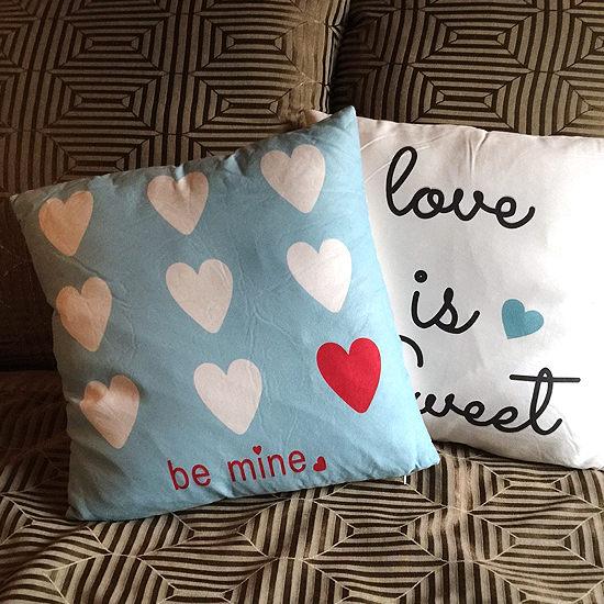 ●MY COLOR●愛心字母鹿皮絨抱枕 靠枕 枕頭 方枕 靠墊 沙發 枕墊 護腰 枕芯 枕套 可拆洗【V45】
