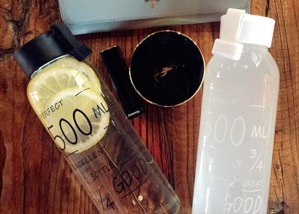 ~MY COLOR~字母圖案透明玻璃杯 500ML 麻布套 花茶 飲料 果汁 水杯 微波