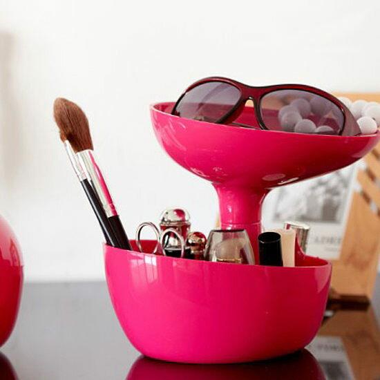 ~MY COLOR~桌面雙層花式收納盒 多 置物 分類 化妝品 防塵 插花  雜物 花瓶~