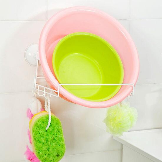 ~MY COLOR~雙吸盤式帶掛勾支架 浴室 臉盆 免釘 收納 沐浴球 掛架 清潔 瀝乾