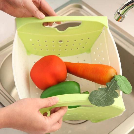 ●MY COLOR●可折疊式果蔬瀝水籃 收納 廚房 置物 清洗 洗菜 蔬菜 篩子 瀝乾 把手【L150】