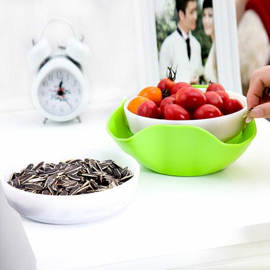 ●MY COLOR●創意二合一分隔雙層果盤 水果 零食 瓜子 收納 水果 零嘴 蜜餞 甜點 點心【Q13】