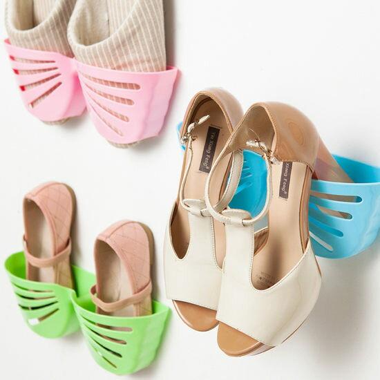 ●MY COLOR● 可掛式立體蝴蝶鞋架 黏貼 收納 拖鞋 多層 壁式 整理 櫥櫃 牆面 門後 辦公【Q217-1】