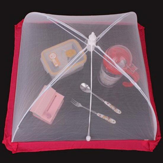 ●MY COLOR●紅邊方型網紗罩 15.5吋 飯菜罩 食物 野餐 摺疊 防蠅 防蚊 菜傘 餐桌 料理【H14-1】