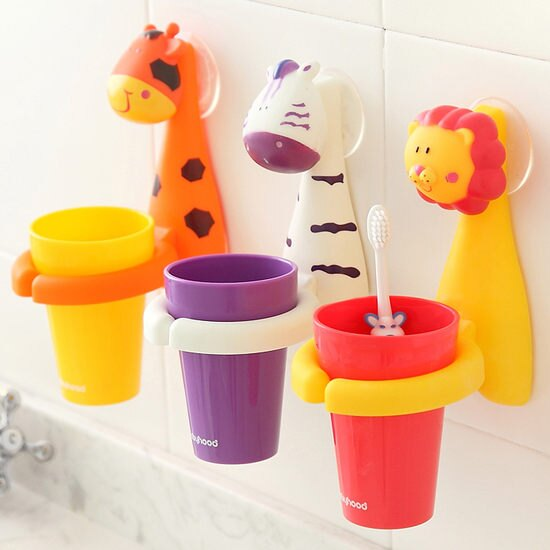 ~MY COLOR~動物 吸盤漱口杯 衛浴 兒童 學習 洗漱 刷牙 牙具 牙刷 杯具 收納