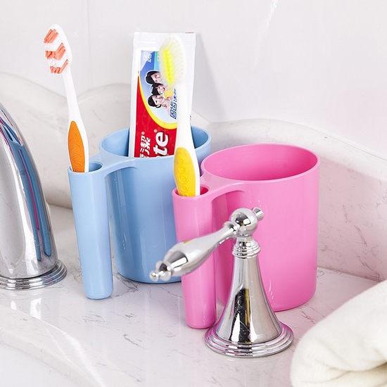 Mycolor:●MYCOLOR●長手柄洗漱牙刷杯牙膏衛浴多功能居家浴室洗手台情侶新款漱口【Q216】