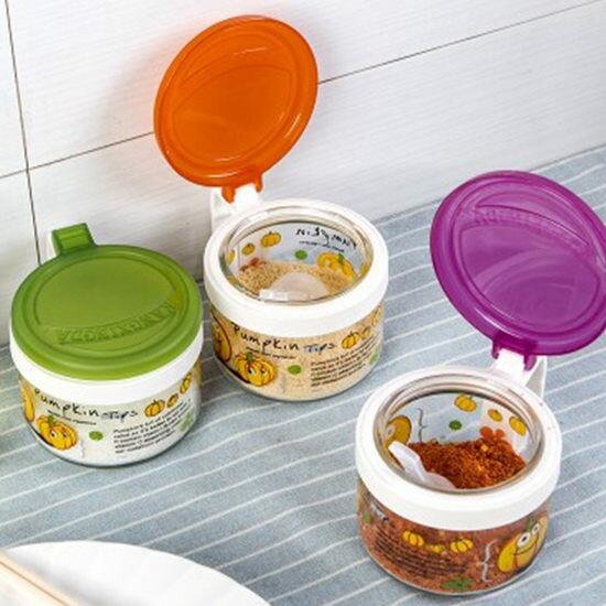 ●MY COLOR●南瓜圖案玻璃調味罐 配小勺 廚房 加蓋 調味瓶 粉末 鹽巴 味精 料理 烘焙【G25】