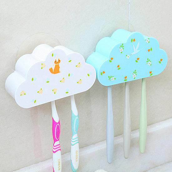 Mycolor:●MYCOLOR●雲朵造型牙刷架帶蓋牙具無痕貼片洗漱衛浴防潮通風瀝乾衛生三位【Q260】