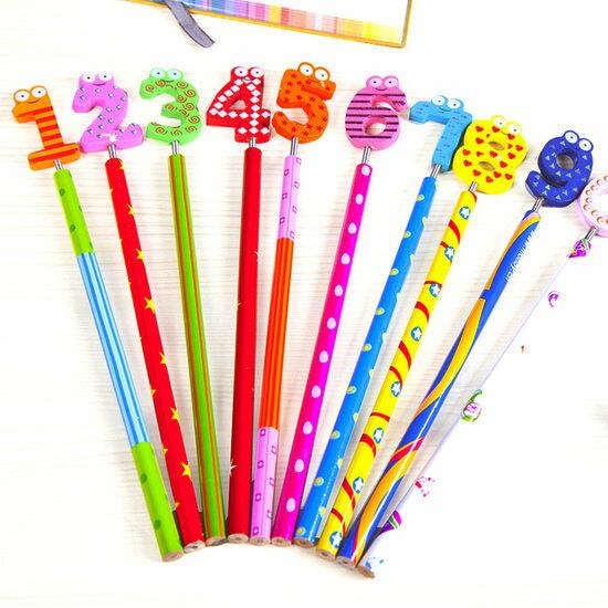 ●MY COLOR●數字彈簧搖頭鉛筆(10支) 木製 文具 韓國 學生 辦公 閨密 禮物 繪畫 作業【Q306-1】
