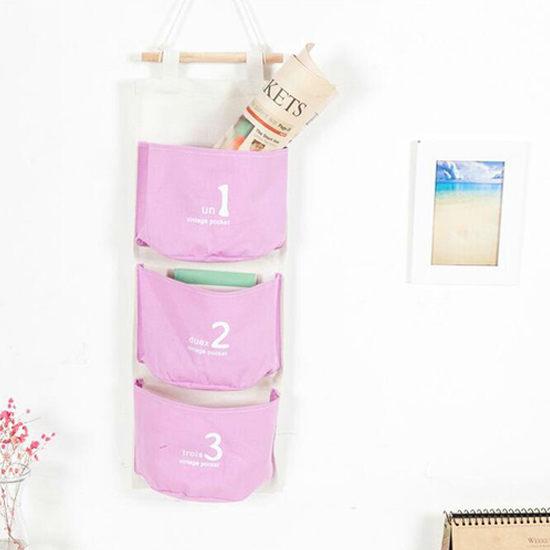 ●MY COLOR●創意三兜連體掛袋 木棍 雜物 裝飾 隨手 牆壁 布藝 門後 收納 分類 工具【N101】