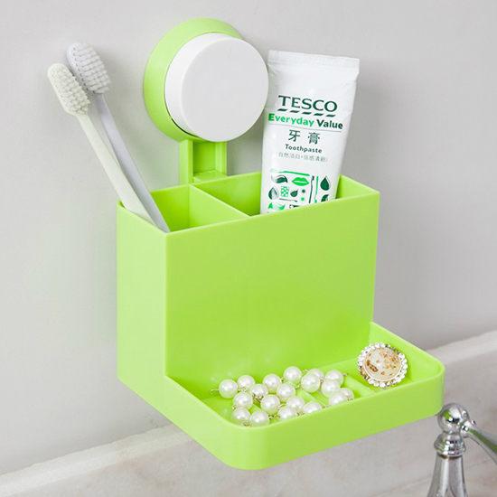 ●MY COLOR●多用雙層收納盒 廚房 浴室 整理 餐具 皂盒 壁掛 吸盤 鏤空 無痕 牆壁【N110】