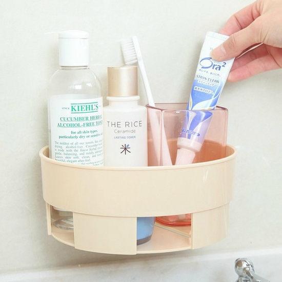 ~MY COLOR~半圓壁掛置物架 吸盤 廚房 浴室 洗漱 鏤空 瀝水 通風 無痕 雜物