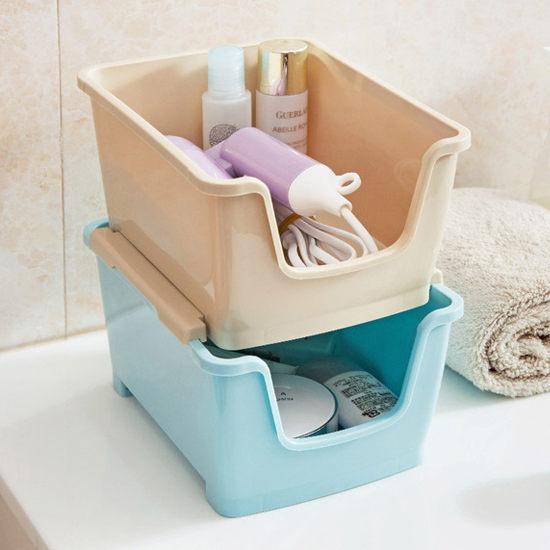 ●MY COLOR●可疊加桌面收納盒 廚房 浴室 洗漱 置物 分層 雜物 文具 辦公 化妝品【A46】