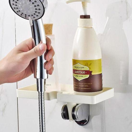 ●MY COLOR●創意蓮蓬頭置物架 衛浴 平台 收納 香皂 洗面乳 沐浴乳 洗漱 鏤空 瀝乾【N157】