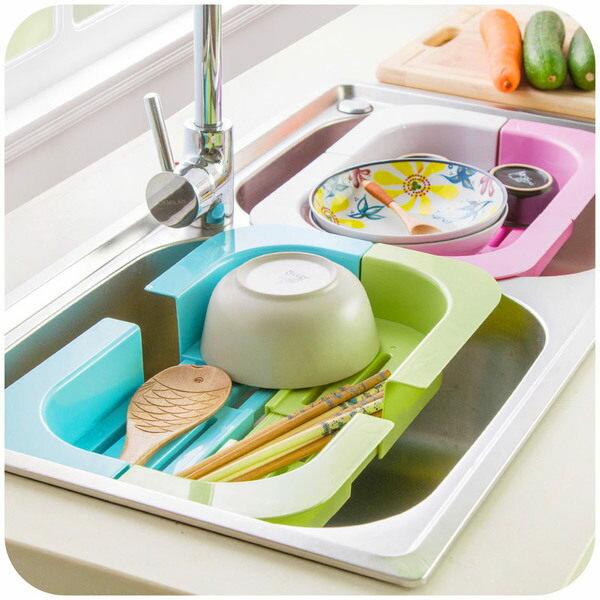 ●MY COLOR●可伸縮水槽瀝水收納架 碗碟瓜果瀝水架 廚房用品塑料晾碗架置物架 【S32】