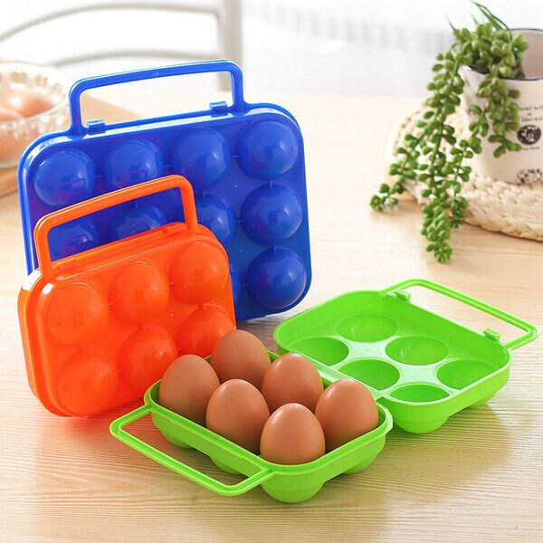 ●MY COLOR●雞蛋盒子 野餐便攜塑料 6格雞蛋盒 包裝盒 便攜雞蛋 防壓碎雞蛋 收納盒【L07】