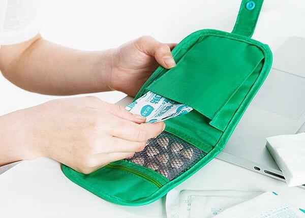 ●MY COLOR●便攜式藥品收納包 收納 雙拉鍊 醫療 便攜 隨身 整理 緊急 分類 維他命【L134】