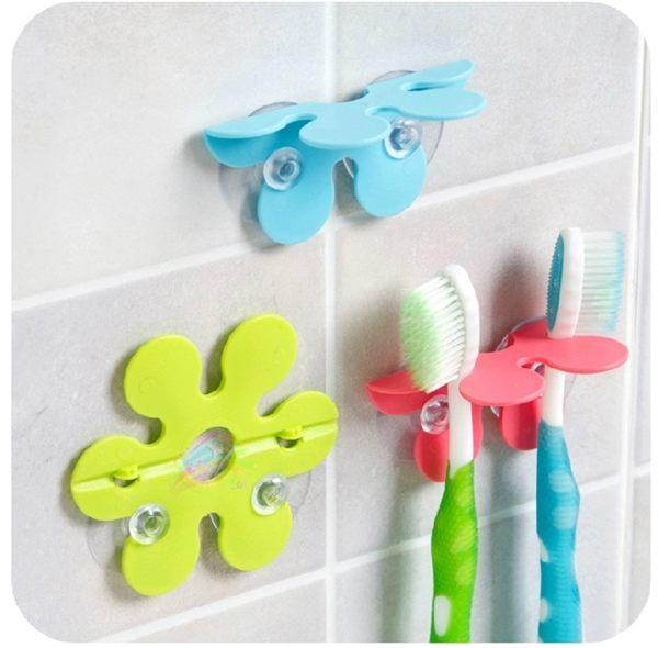 ●MY COLOR●吸盤式花朵牙刷架 衛浴用品 洗漱 牙刷固定器 防滑 吸盤式牙刷架 牙刷 【F16】