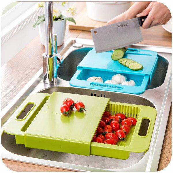 ●MY COLOR●純色無印三合一瀝水菜板 廚房廚具 收納 清潔 儲存 雙格 水槽 砧板 瀝水墊 【S44】