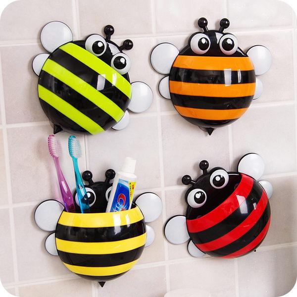 ●MY COLOR●蜜蜂造型洗漱收納架 掛勾多功能 吸盤式 牙 牆壁 掛壁 瀝水 浴室 廚房 牙刷架 【Q21】